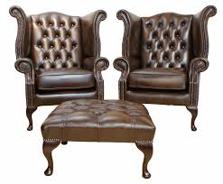 Queen Anne Wingback Chair Chesterfield Library Reading Wing Back Chair