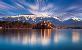 Slovenia Lake Lakes Landscape Reflection Water Bled Church Lake Mountains
