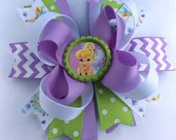 tinkerbell ribbon tinkerbell hair bow tinkerbell inspired hair bow бантики