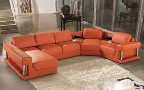 Modern Reclining Sectional Sofas by Modern Orange Leather Sectional Sofa