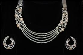 diamond pearl necklace set images Diamond and pearl necklace and earring set 9 jpg