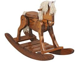Real Wood Rocking Chairs Solid Wood Rocking Horse With Leather Padded Seat