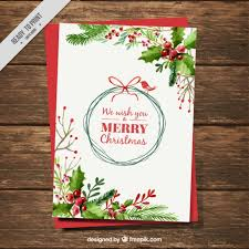 card with watercolor mistletoe decoration vector free