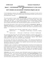 lab 3 titration of soda citric acid molar concentration acid