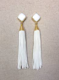 white earrings white stud beaded tassel earrings all things jewelry