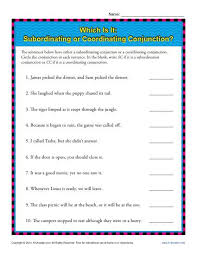 subordinating or coordinating conjunctions 5th grade worksheeets