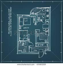 blueprint floor plan architectural blueprint floor plan studio apartment stock vector