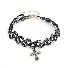 tattoo necklace with cross images Black elastic stretch tattoo choker necklace pentagram cross jpg