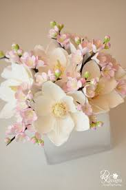 Peony Floral Arrangement Delicate Blush And White Floral Arrangement Magnolias And Plum