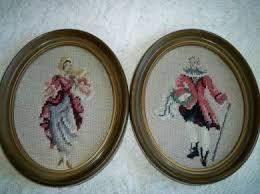 oldfashionedcharm vintage framed needlepoint pair 18th century