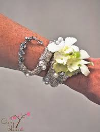 how to make wrist corsage custom silver bracelet wrist corsage cherry blossoms florist