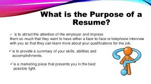What Is The Purpose Of A Resume Writing An Effective Resume And Application Letter