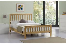 cheap new solid oak wooden bed double king sleep design