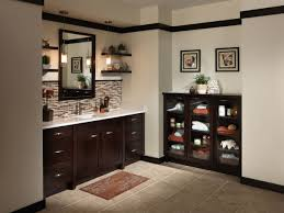 bathroom bathroom black wooden open shelf vanity and drawers