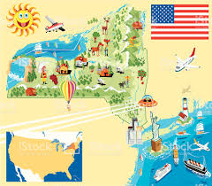 Map New York State by Cartoon Map Of New York Stock Vector Art 167591132 Istock