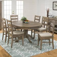 slater mill pine reclaimed pine round to oval 7 piece dining set