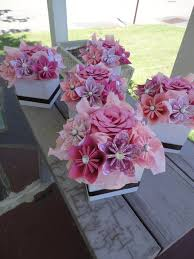 paper flower centerpieces origami paper flower centerpiece set of 5 kusudama pink small