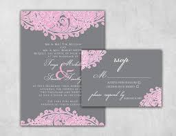 Pink Wedding Invitations Pink And Grey Custom Wedding Invitation Set By Thewhiteinvite