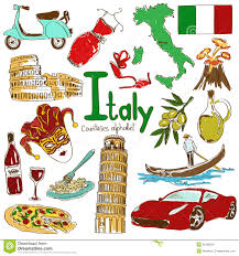 collection italy icons fun colorful sketch countries alphabet