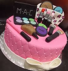 mac makeup themed custom cake