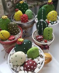 Painting Rocks For Garden Painted Cactus Rock Garden Easy