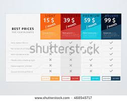 vector pricing table template template four stock vector 468545717