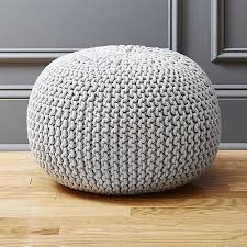 Knit Ottoman Pouf Cb2 Knitted Silver Grey Pouf Knitted Pouf Ottomans And Layering