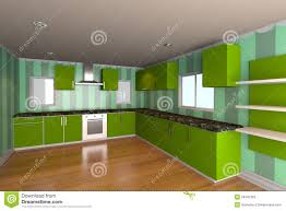 Kitchen Green Kitchen Colors Stock Kitchen Room With Green Wallpaper Stock Photography Image 29497362