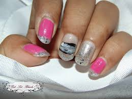 pink and silver glitter nails french style glitter nail art