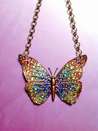 bionic unicorn crystal jewelry ombre crystal butterfly necklaces