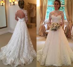 Affordable Wedding Gowns Discount 2017 Elegant Lace Wedding Dresses High Neck Long Sleeves