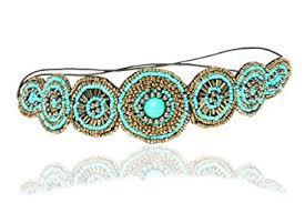 beaded headband turquoise blue and beaded headband