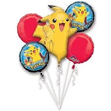 mylar balloon bouquet pikachu and friends 5 mylar balloons bouquet party