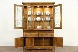 Vintage China Cabinets Oak Vintage China Cabinet Leaded Beveled Glass Richardson Bros