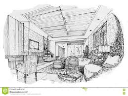 Interior Design Bedroom Drawings Sketch Interior Perspective Swimming Pools Black And White