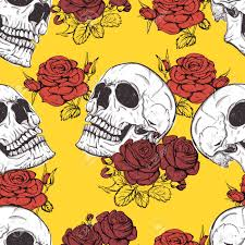 vector seamless with roses and skulls skull royalty free cliparts