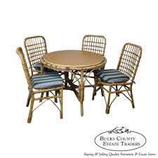 Bamboo Dining Room Chairs 8333 Ax Vintage Rattan Bamboo Round Patio Sunroom Dining Table