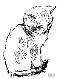 hand drawing of cat coloring page free printable coloring pages