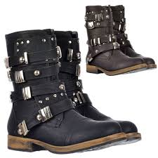biker boot style dolcis military style ankle biker boot metal studded buckle