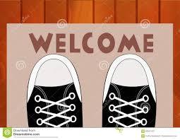Teen Rug Feet Teen In Sneakers Close Up On A Doorway Rug That Says Welcome