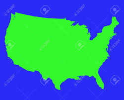 United States Outline Map by United States Of America Outline Map In Green Isolated On Blue