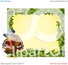 clipart of a thanksgiving pilgrim turkey bird and leaf border