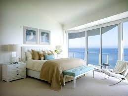 modern master bedroom design with beachy themed decoratin and bed