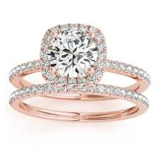setting diamond rings images Square halo diamond bridal set ring setting band 14k rose gold jpg