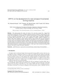 spif a on the development of a new concept of incremental forming