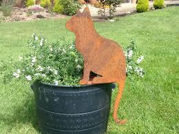 Metal Garden Art Rusty Sitting Cat Metal Cat Silhouette Rusty Cat Metal Garden