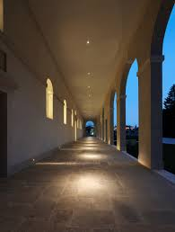 step lighting perfectly executed in this outdoor hallway light it