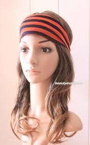 wide headband headband running twist headband orange blue stripe headband
