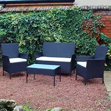 Garden Patio Furniture Sets Kingfisher Fsr 4 Black Rattan Effect Garden Patio Furniture