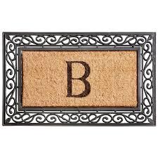 Coir And Rubber Doormat Monogram Coir Rubber Scroll Border Doormat Improvements Catalog